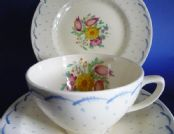 Susie Cooper Crown Works Pottery Blue 'Printemps' Trio c1935 (Sold)